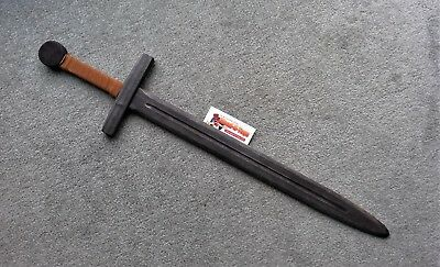 Black Wooden Sword With Leather Bound Handle LARP • 7.99£