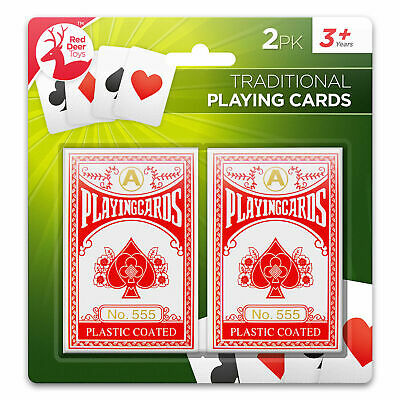 2 Decks Traditional Plastic Coated Playing Cards Poker Size Sealed Children Game • 1.99£