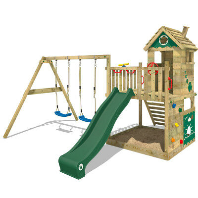 Wooden Climbing Frame Swing Set  WICKEY Smart Lodge 120  With Green Slide • 629.95£