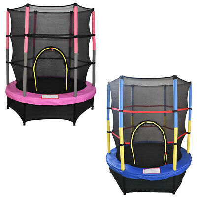 4.5FT 55  Junior Trampoline With Safety Net Enclosure Kids Child Outdoor Toy • 112.95£