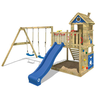 Wooden Climbing Frame WICKEY Smart Lodge 120 With Double Swing, Slide & Sandpit • 629.95£