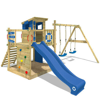 Wooden Climbing Frame WICKEY Smart Camp - Swing Set With Sandpit & Blue Slide • 579.95£
