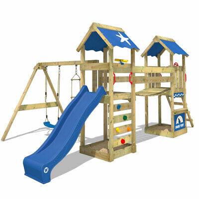 Wooden Climbing Frame WICKEY  SunFlyer  - Swing Set With Slide & Wobbly Bridge • 669.95£
