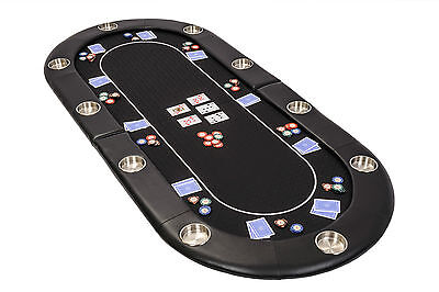 Riverboat Folding Poker Table Top In Black Speed Cloth 200cm Seats 10 People • 129£