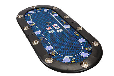 Riverboat Folding Poker Table Top In Blue Speed Cloth 200cm Seats 10 People • 129£