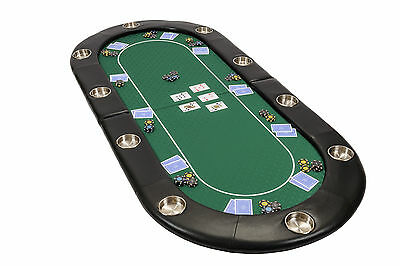 Riverboat Folding Poker Table Top In Green Speed Cloth 200cm Seats 10 People • 129£