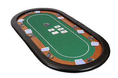 Champion Folding Poker Table Top In Green Speed Cloth 180cm With Leather Armrest • 89.99£