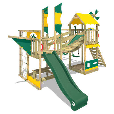 Wooden Climbing Frame WICKEY Smart Cruiser With Double Swing, Slide And Sandpit • 979.95£
