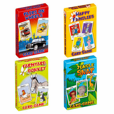 Children's Traditional Card Games - Happy Families Jungle Snap Donkey Pairs Snap • 6.95£