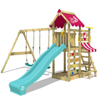 WICKEY VanillaFlyer Climbing Frame Garden Wooden Outdoor Playground DoubleSwing • 469.95£