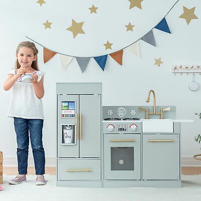 Grey Wooden Toy Kitchen By Teamson Kids Toy Cooker Play Kitchen Set TD-12302A • 139.99£
