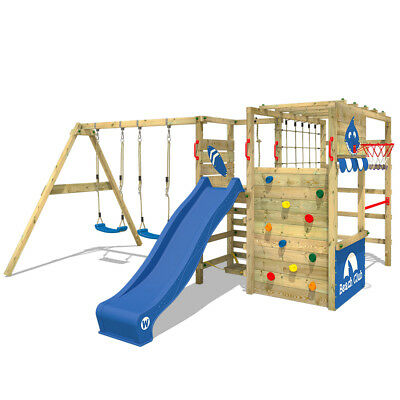 WICKEY Smart Zone Wooden Climbing Frame With Double Swing And Slide • 659.95£