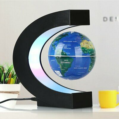 Magnetic Levitation Floating Earth Globe Map With C Shape Base LED Light Cool UK • 18.99£
