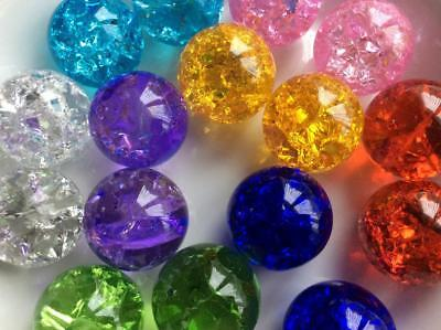 ONE 35mm CRACKLE EFFECT GLASS MARBLE Ball Perfect Sphere  8 Vibrant Colours • 7£