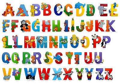 Wooden Jungle Animal Upper Case Alphabet Letters Self Adhesive • 1.50£