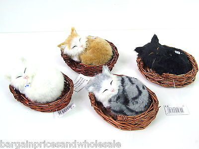 Large Cute Cat In Basket To Display Cute Desktop Great Gift For GrandParent 12cm • 6.99£