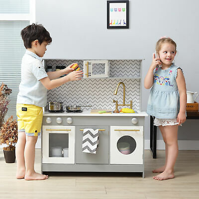 Grey Kids Toy Kitchen Wooden Cooker Children Imitation Play TeamsonKids • 119.99£