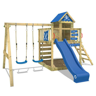 Wooden Climbing Frame WICKEY Smart Cave - Playhouse With Double Swing & Sandpit • 519.95£