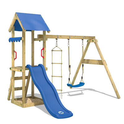 WICKEY TinyCabin Climbing Frame With Swing And Blue Slide - Garden Playhouse-set • 264.95£