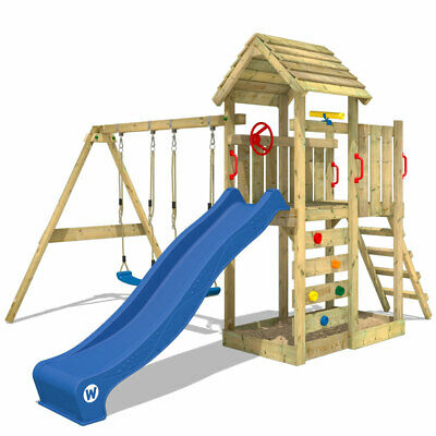 Wooden Climbing Frame WICKEY MultiFlyer With Swing, Wooden Roof & Blue Slide • 449.95£