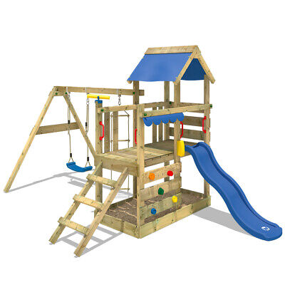 Wooden Climbing Frame WICKEY TurboFlyer - Swing Set With Blue Slide & Sandpit • 399.95£