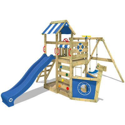 Wooden Climbing Frame WICKEY SeaFlyer - Swing Set With Blue Slide & Sandpit • 479.95£