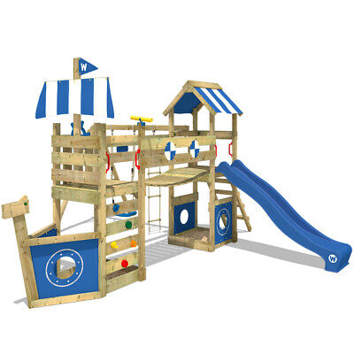 Wooden Climbing Frame WICKEY StormFlyer - Swing Set With Blue Slide & Sandpit • 599.95£
