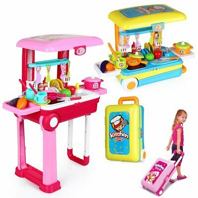 Portable Electronic Children Kids Kitchen Cooking Girls Toy Cooker Play Set Gift • 18.99£