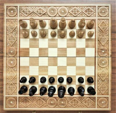 Large Chess Set  42 X 42 Hand Crafted  Board Hand Made Woodeeworld • 139.99£