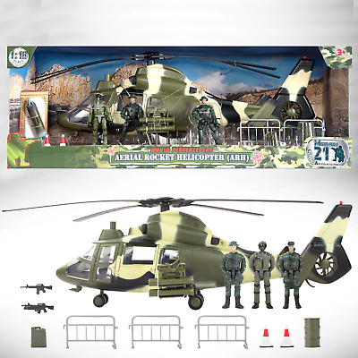 World Peacekeepers Aerial Rocket Army Military Helicopter (ARH) Toy & 3 Figures • 44.99£
