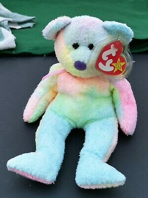 Ty Beanie Babies - GROOVY The Bear - Retired 1999 - With Swing Tag & Protector • 5£