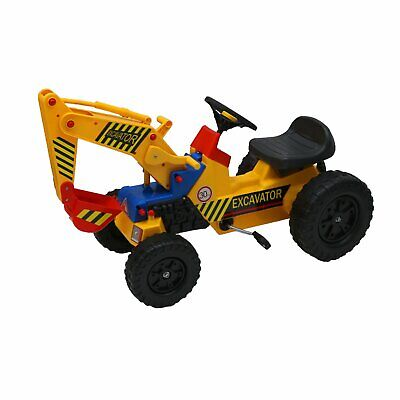 NEW Childrens Pedal Ride On Yellow Super Kids Mini Digger Excavator Farm Tractor • 49.99£