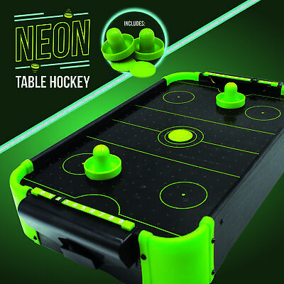 Neon Tabletop Electronic Air Hockey Executive Arcade Sports Desk Game • 21.99£