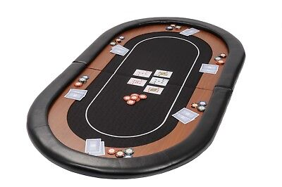 Champion Folding Poker Table Top In Black Suited Speed Cloth 153cm Leather Rest • 79.99£