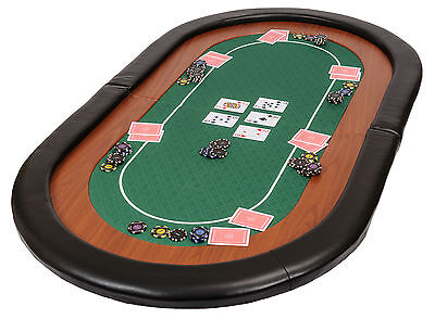 Champion Folding Poker Table Top In Green Suited Speed Cloth 153cm Leather Rest • 79.99£