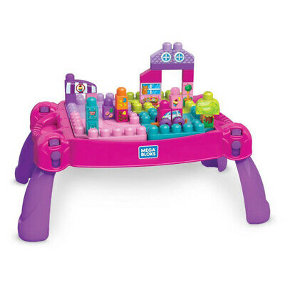Mattel Mega Bloks Build'n Learn Table Pink 30 Pieces • 24.99£