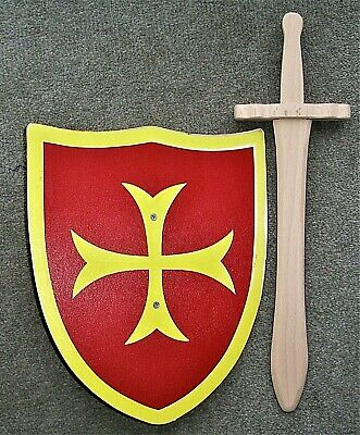 Sword And Shield Set - Wooden. Yellow Serif Cross On Red Background • 8.99£