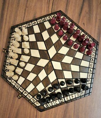 Chess Set For Three Players Small 32 X 28 Woodeeworld • 36.99£