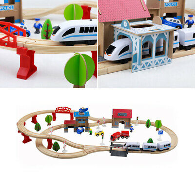 WOODEN TRAIN SET Kids Playset Educational Toy Railway Track Childrens Play Toys • 23.99£