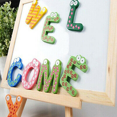 Eg_ 26 Alphabet Magnetic Letters A-z Wooden Fridge Magnets Baby Education Toys B • 3.68£