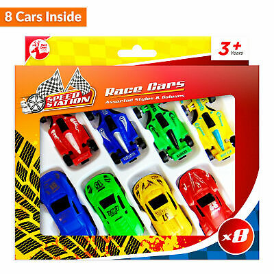 8pc Toy Racing Cars Kids Car Gift Set Xmas F1 Plastic Vehicle Children Play Toy • 2.49£