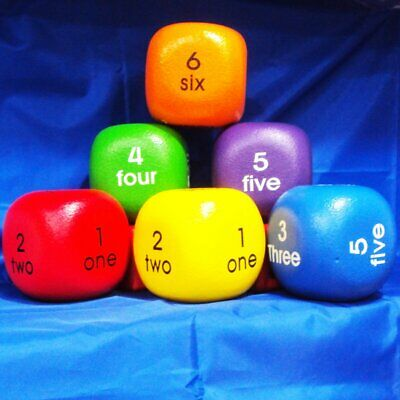 Kids Words And Numbers Durable Foam Dice - 10cm - New • 7.99£