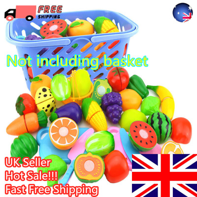 UK 24Pcs Fruits Vegetable Food Toy Child Kids Kitchen Role Play Cutting Cut Toy • 11.24£