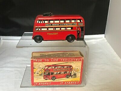 WELLS BRIMTOY TINPLATE  FRICTION DRIVE  POCKETOY  TROLLEY BUS  No 516  BOXED • 59.50£
