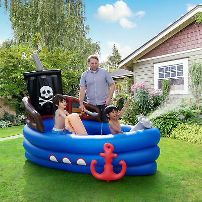 Teamson Kids Garden Childrens Pirate Boat Inflatable Water Play Centre • 54.99£