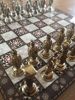 Roman Soldiers Small Chess Set - Brass&Nickel - Wood Board 8'x8' • 35£