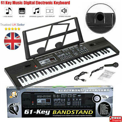 Musical Keyboard Electronic Digital Piano 61 Key Adults Beginner With Stand PTUK • 15.49£
