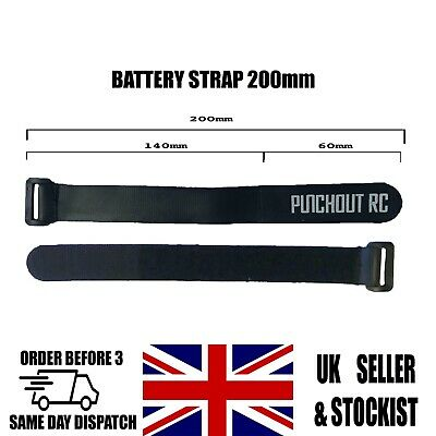 Black Hook & Loop Battery Strap Rubberised Lipo Tie Down RC Quadcopter 200mm UK • 2.99£