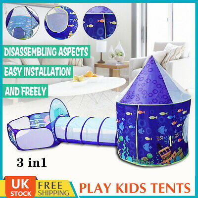 3 In 1 Portable Childrens Kids Baby Play Tent Tunnel Ball Pit Playhouse Pop Up • 28.99£