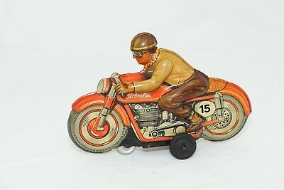 Vintage Technofix Racing Motorcycle & Rider. Friction Drive. Made In Germany  • 120£